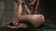 He bangs her from behind then really ties her up and tortures her