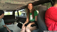 They entice her into the van, minus the smoke, and get her talking