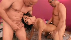 Slim Latina Nataly Rosa gets pounded by two guys and her man watches