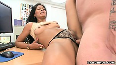 After toying her pussy, a horny brunette gets slammed by a real meat pole
