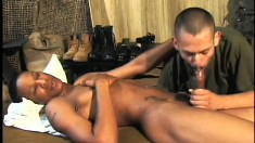 Soldier reads and masturbates then gets a helping mouth and an ass to fuck